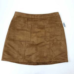 NWT Old Navy Faux Suede Brown Straight Skirt 10